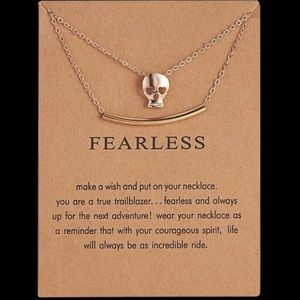 3/$15 Skull charm/ necklace Fearless Necklace NEW